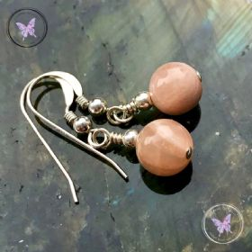 Classical Sunstone Silver Earrings